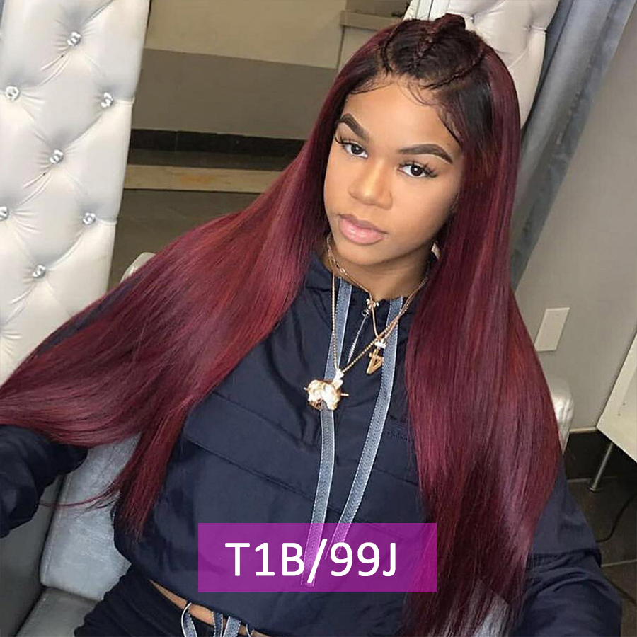 Red Ombre Lace Front Human Hair Wig 1b 99j Lace Front Wig Straight Weave Burgundy Lace Front Human Hair Wig