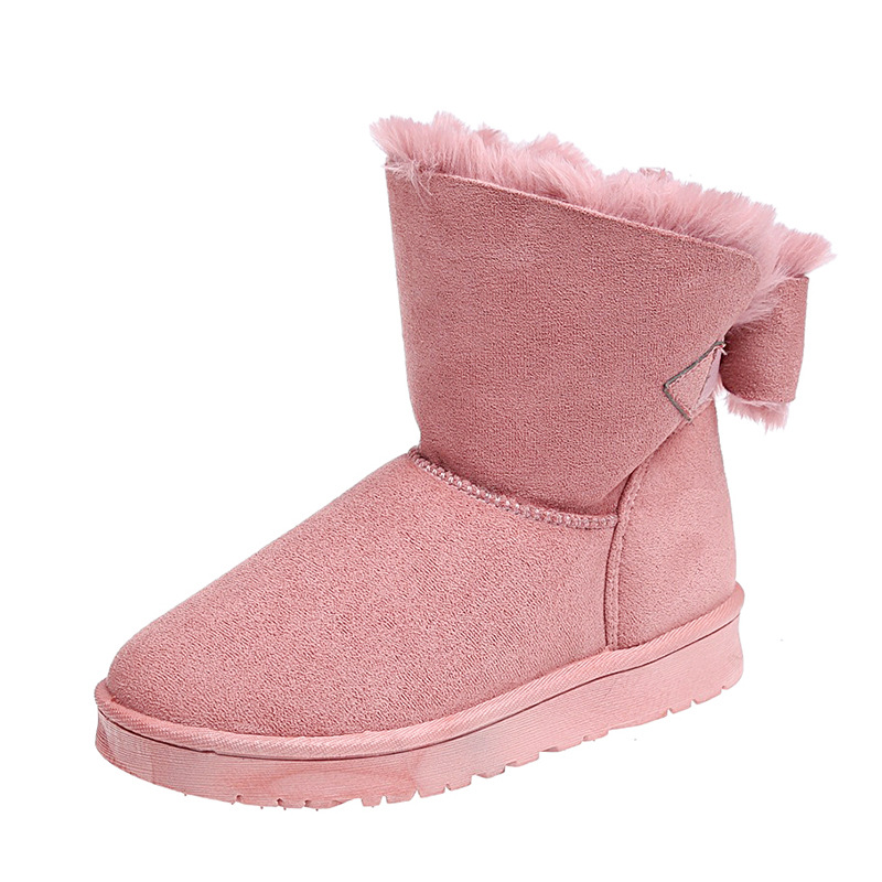 YeddaMavis Boots Women Snow Genuine Leather Ankle For Winter Warm Female Shoes Pink