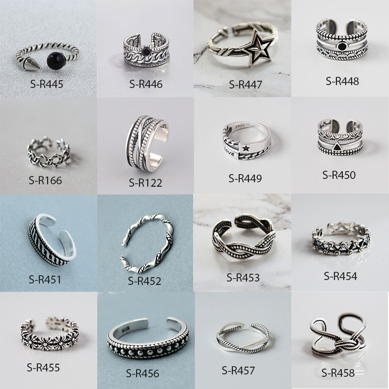 Vintage Handmade 925 Sterling Silver Rings For Men Women Size 18mm Adjustable Thai Silver Rings Personality S-R445(China)