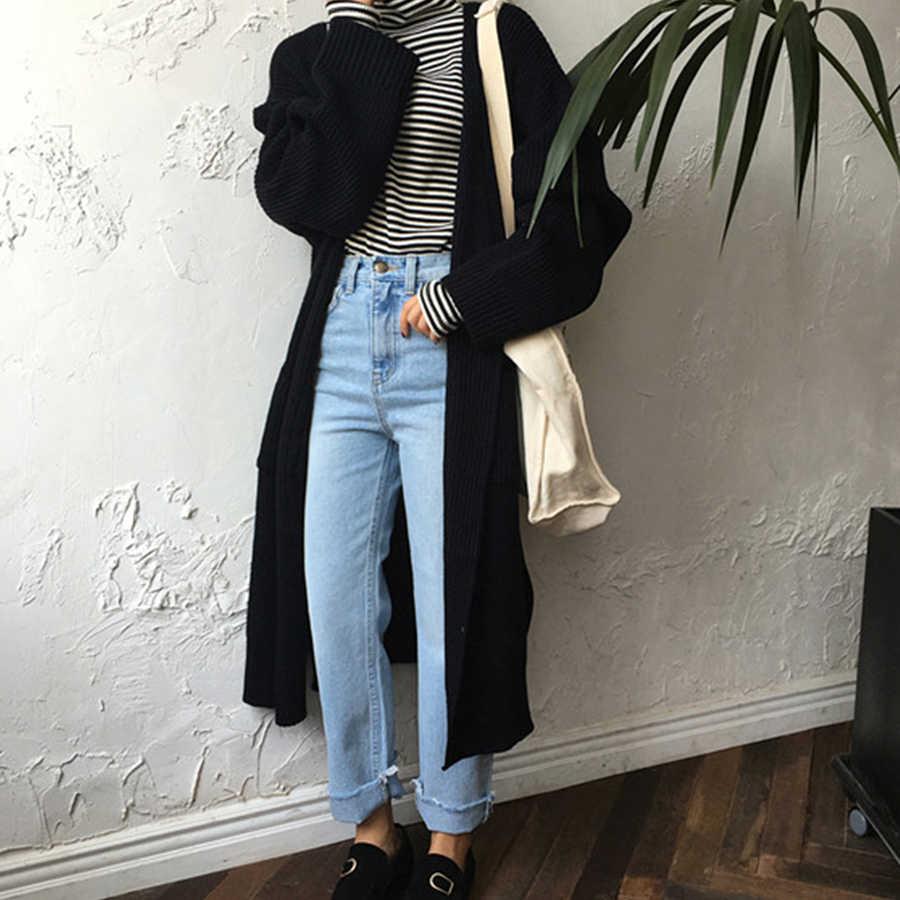 DICLOUD di Modo Cardigan Lungo Delle Donne di 2019 di Modo Harajuku Sciolto Donne Maglione Maglia casual Nero di Grandi Dimensioni Cappotto del Rivestimento di Autunno