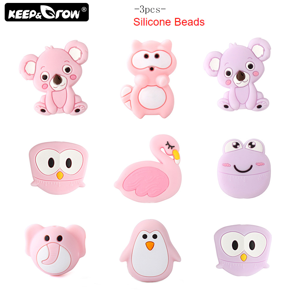 Keep&Grow 3Pcs Mini Cartoon Silicone Beads BPA Free Baby Teething Beads Pacifier Chain Necklace Accessories Silicone Teether