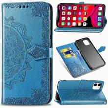 Flower Mandala Leather Wallet Case Flip Stand For For iPhone 11 Pro X XR XS Max 6 6S 7 8 Plus Flip Cases Stand Card Solt Cover(China)