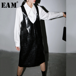 [EAM] Women Black Pu Leather Temperament Vest Dress New V-Neck Sleeveless Loose Fit Fashion Tide Spring Autumn 2020 1R957