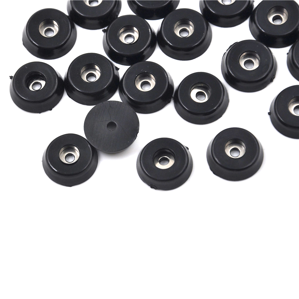 20pcs 18x15x5mm Black Rubber Table Chair Leg Pads Floor Protector Furniture Feet Non-slip Pads