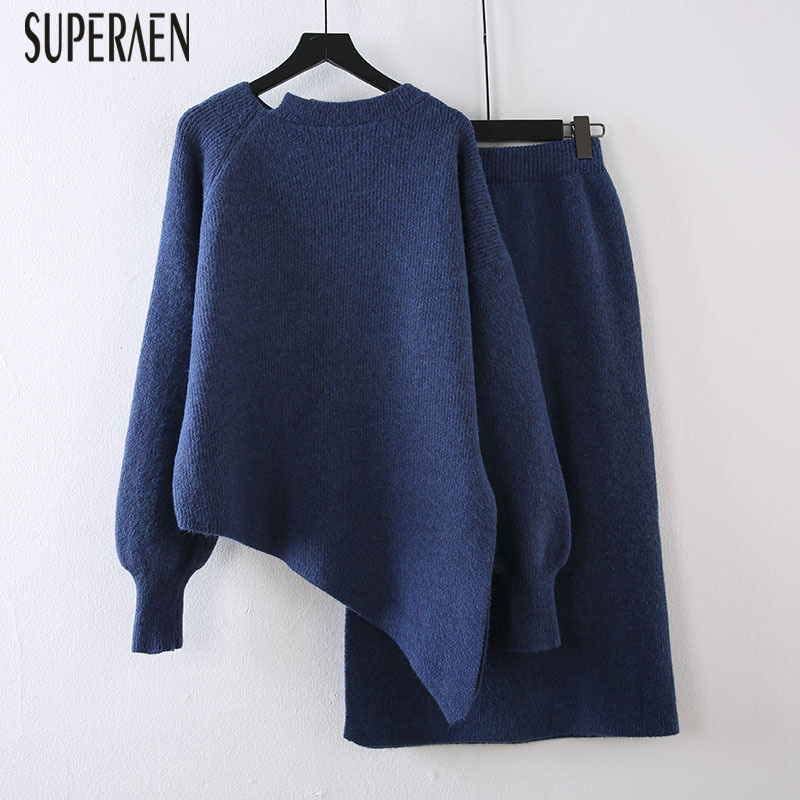 SuperAen Fashion Casual Knit Women's Sets Spring New 2020 Irregular Pullovers Ladies Sweater Solid Colort Knit Skirts Two Pieces