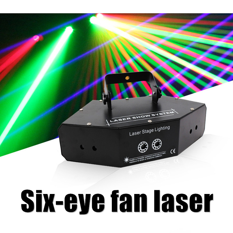 6 глаза двойной красного, зеленого и синего цвета RGB луч сети перекрестный лазерный проектор света DMX DJ диско вечерние шоу сцена освещения
