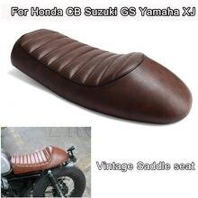 Sillín con Gibas para motocicleta tipo Cafe Racer, funda para cojín de asiento con soporte de café marrón para Honda CB, Suzuki GS, Yamaha-XJ
