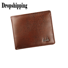 Casual Business Men's Bifold PU Leather Wallet Solid Color ID Credit Card Holder Mini Males Lightweigh Purse With Pockets #ZD(China)