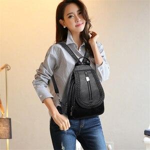 Image 3 - Kadın deri sırt çantaları yüksek kaliteli kadın sırt çantası göğüs çantası rahat günlük çanta kese Dos bayanlar sırt çantası seyahat okul sırt paketi