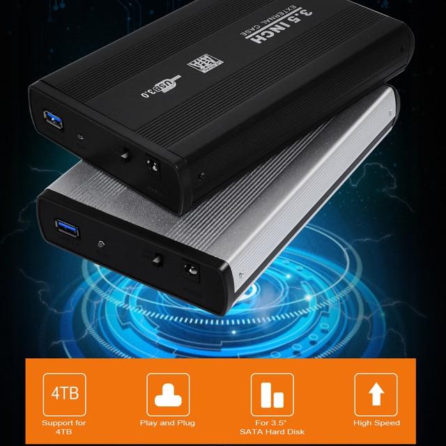 DeepFox 3.5 Inch USB 2.0/USB 3.0 SATA External HDD Disk Hard Drive Enclosure Case Cover External Storage Box Support Hard Drive 5