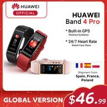Versão global huawei banda 4 pro banda inteligente oxigênio no sangue 0.95 amamtela amoled rastreador de freqüência cardíaca gps monitoramento de sono smartband