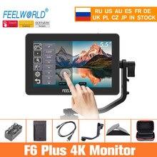 Feelworld câmera monitor f6 plus 5.5 Polegada 3d lut tela sensível ao toque 4k ips fhd 1920x1080 monitor para câmera dslr