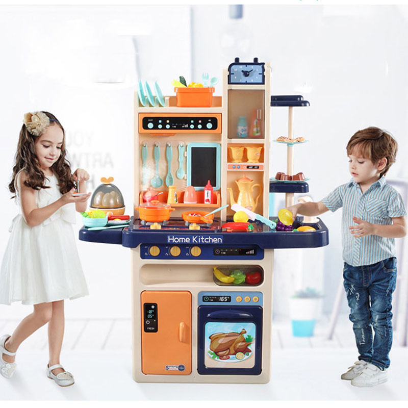 Toys Kitchen Play with Light And Music Spray Large 65pcs-Pretend Simulation Children's