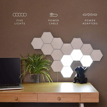 Quantum Lamp LED Hexagonal Modular Touch Sensitive Lighting Night Light Magnetic Hexagons Creative Wall Lamps Christmas Gifts