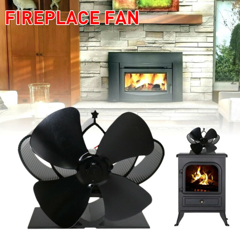 5-Blades Stove Fan Eco Friendly Heat Powered Log Wood Burner Top Mini Fireplace
