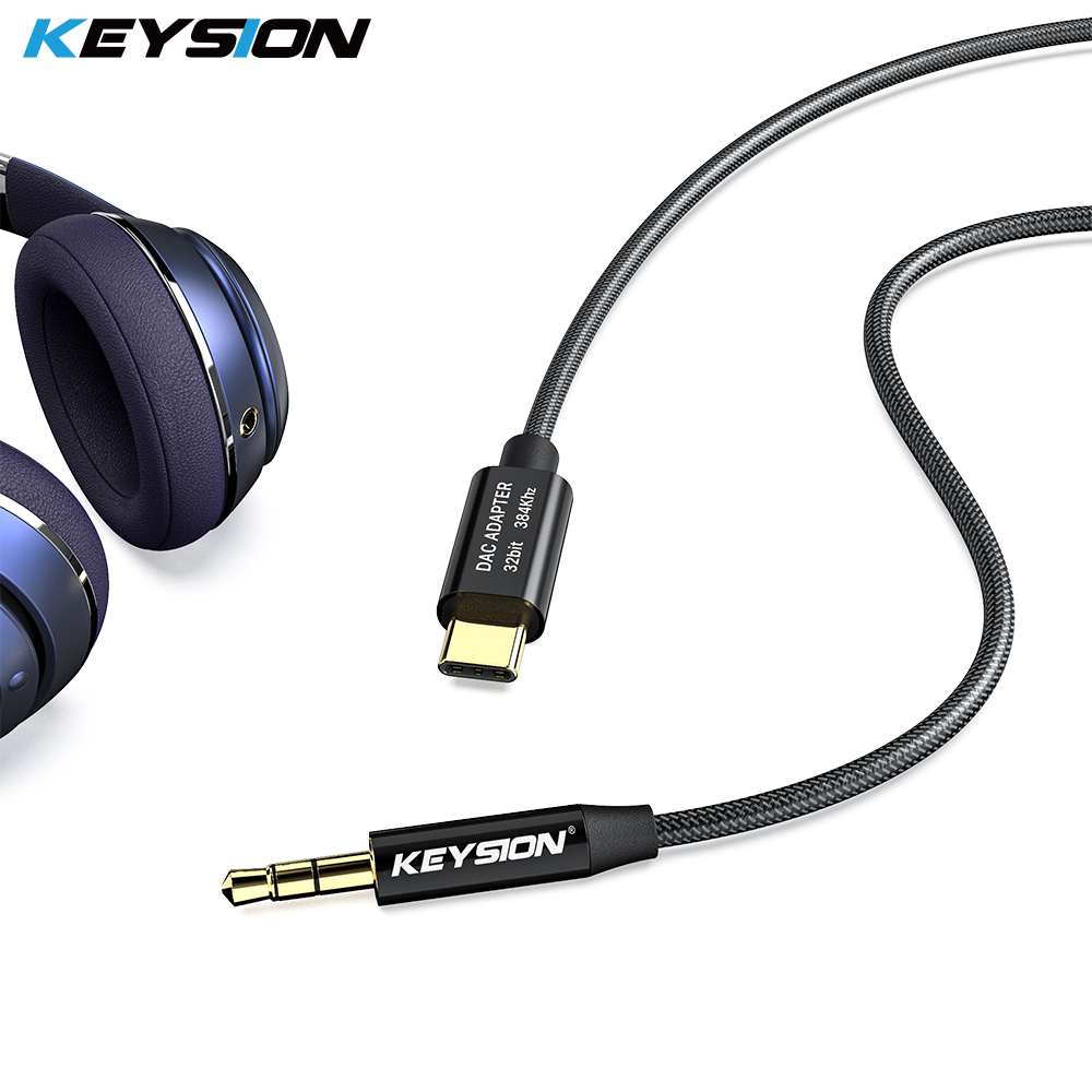 KEYSION HIFI DAC Earphone Amplifier USB Type C To AUX  Male Speaker Audio Adapter 32bit 384kHz Digital Decoder Car AUX Converter