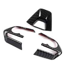 JEAZEA 3Pcs Carbon Fiber ABS Steering Wheel Cover Frame Trim Decoration Fit For Toyota RAV4 2019 2020 LHD Car Accessories dwcx abs carbon fiber style front seat heating switch button cover trim frame panel car styling fit for toyota rav4 2019 2020