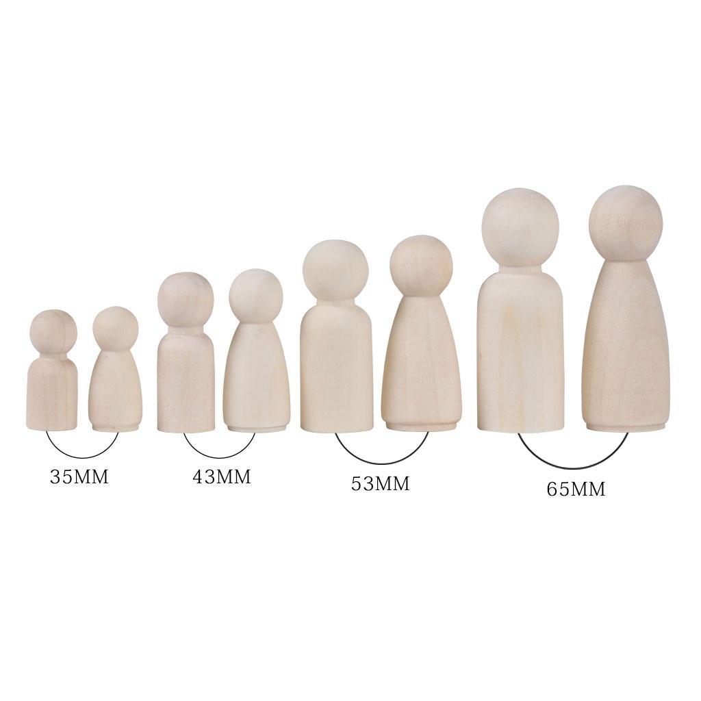 Boneca de madeira natural sem acabamento, 12 peças, moldes para pessoas, artesanato, artesanato