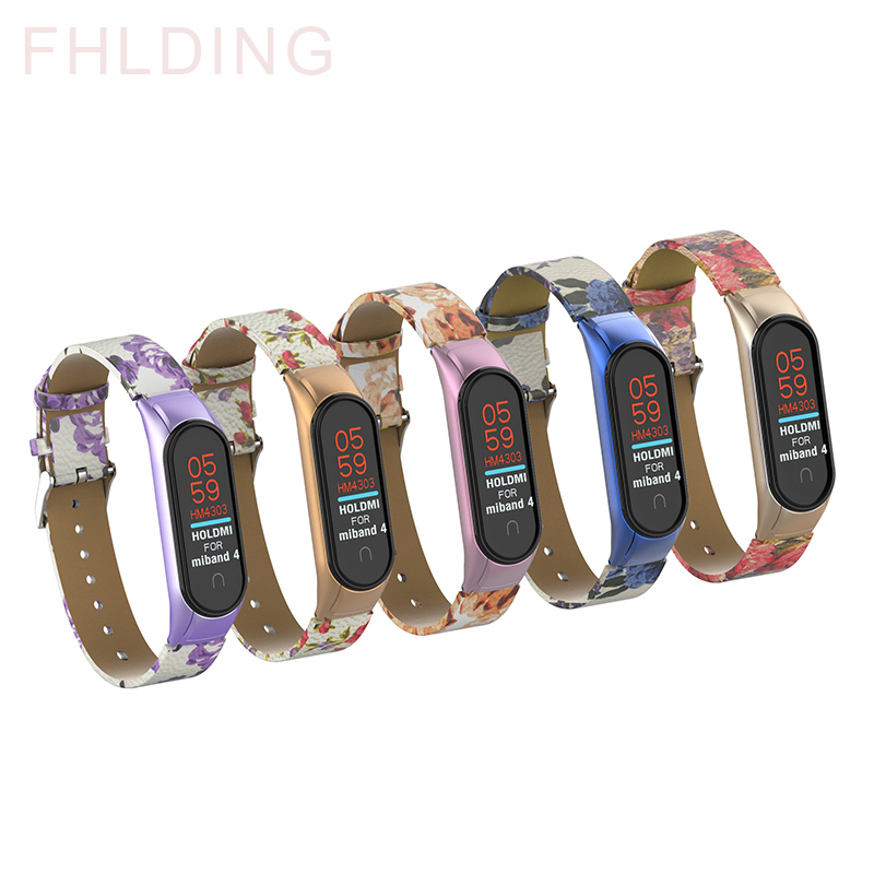 Leather Strap For Xiaomi Mi Band 4 3 Wristband Metal Case Colorful Flowers  Replacement Bracelet For Mi Band 4 3 Accessories