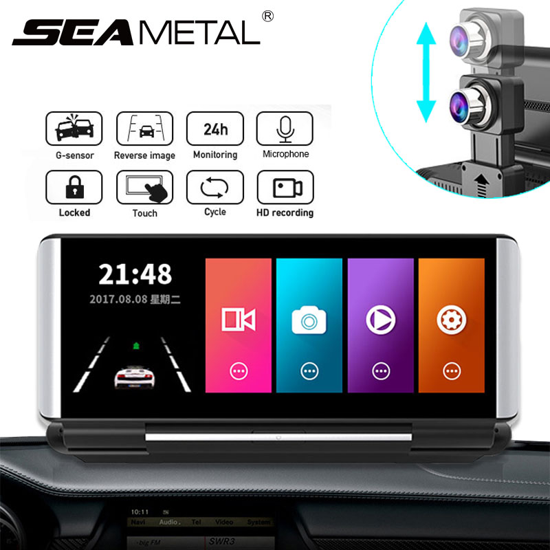 6.86 Polegada tela de toque do carro dvr hd dashboard câmera gravador vídeo monitor estacionamento visão noturna traço cam com câmera traseira