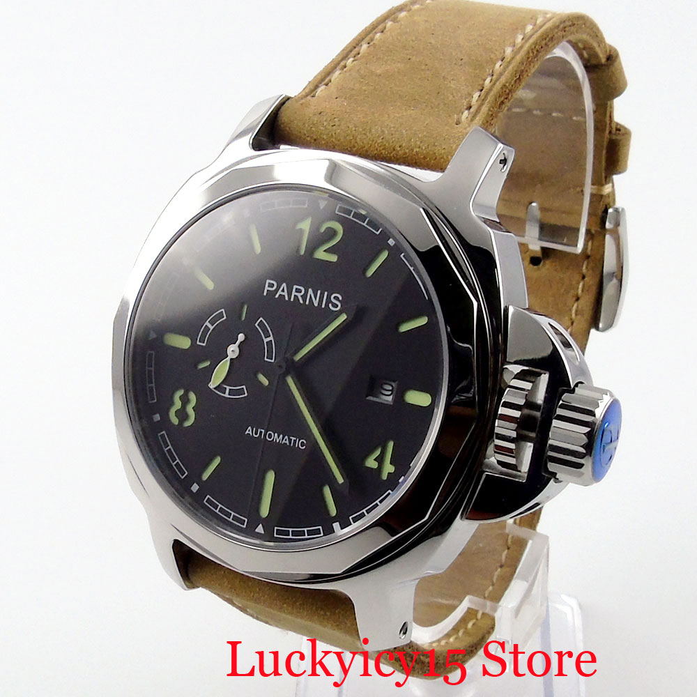 PARNIS Special Design Self Winding Men Watches Sapphire Glass Black Dial Date WIndow Luminous Hand Big Crown Automatic Movement