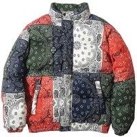 Windbreaker Streetwear Retro Pattern Color Block Harajuku Winter Padded Coat Warm Outdoor Clothing Hip Hop Jacket Parka Men