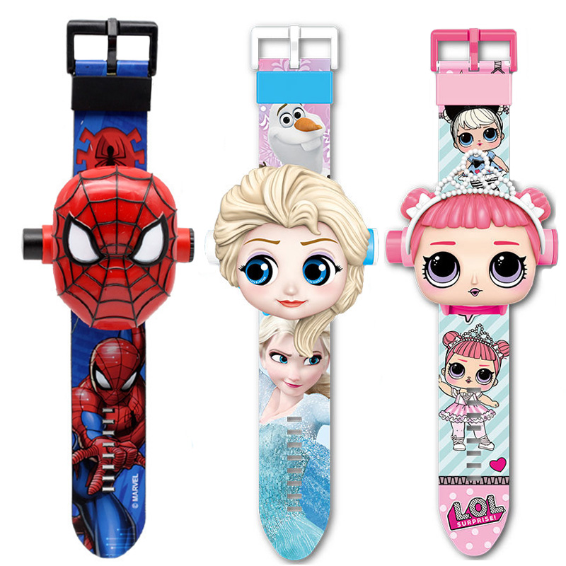Girls Watches Projection Digital Cartoon-Pattern Boys Kids Princess Super-Hero 3D