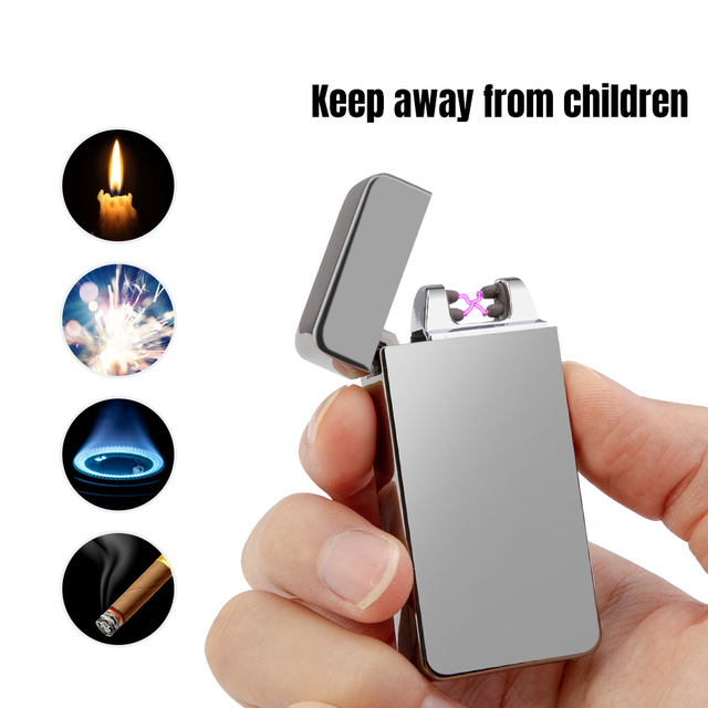 Doble eléctrico encendedor de arco recargable USB a prueba de viento sin llama encendedores a pulso de Plasma doble encendedor de arco de cigarrillo