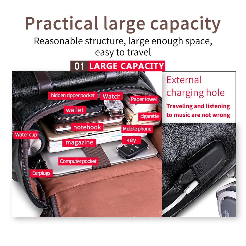 JIULIN sac à dos en cuir hommes ordinateur portable voyage sac à dos 15 pouces étanche sac à dos pour ordinateur portable USB collège Bookbag hommes mochila hombre - 3