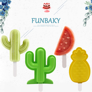 FUNBAKY New Food Grade Popsicle Mould DIY Tropical Fruit Cactus Ice Cream Mold with With Cover PP Popsicles Sticks(China)