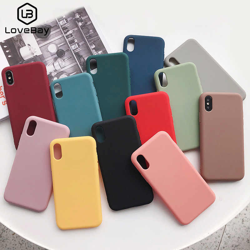 Lovebay del Color del caramelo de la caja del teléfono para iPhone 6 6s 7 7 Plus X XR XS Max lindo Simple sólido silicona suave de Color para iPhone X funda Capa