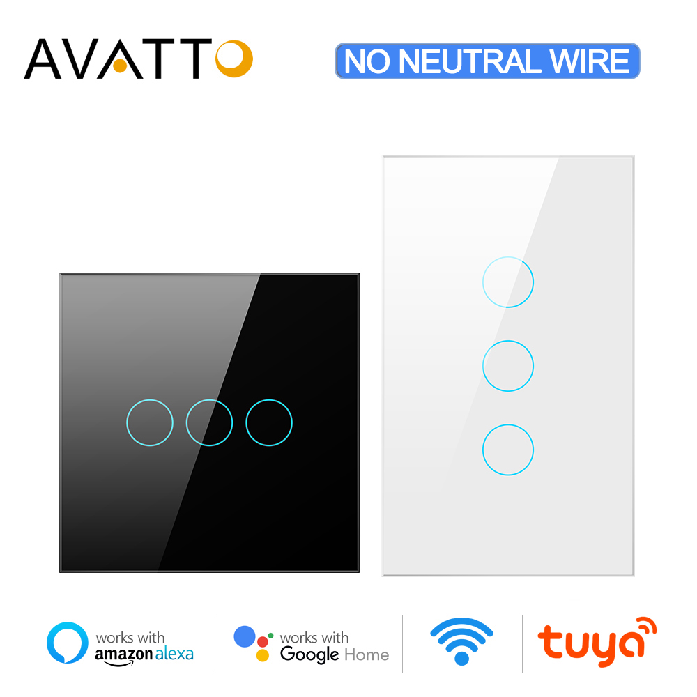 AVATTO Wifi Light Switch No Neutral Wire Required,Tuya 433RF Remote Control Smart Wifi Touch Switch,Work with Alexa Google Home
