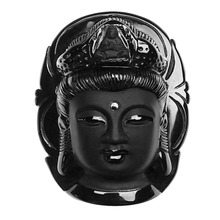 цены Men Women Vintage Black Color Guanyin Natural Stone Obsidian Carved Kwan-yin Head Pendant Lucky Jewelry for Gift