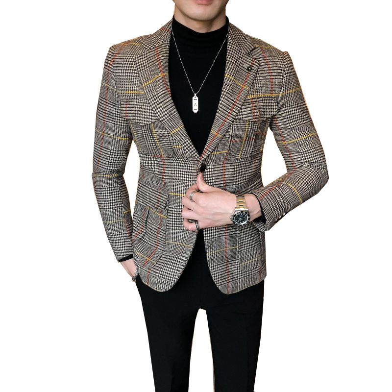 2020 Autumn Plaid Men Blazers Casual Slim Fit Suit Jacket Woolen Wedding Dress Coat Business Streetwear Social Costume Homme 6