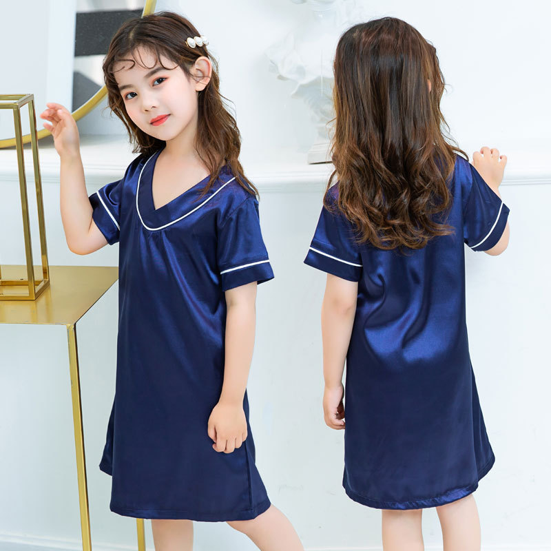 Girl'S Nightgown Summer New Style 2019 Korean-style Children Tracksuit Viscose Parent And Child Pajamas Solid Color Baby Air Con