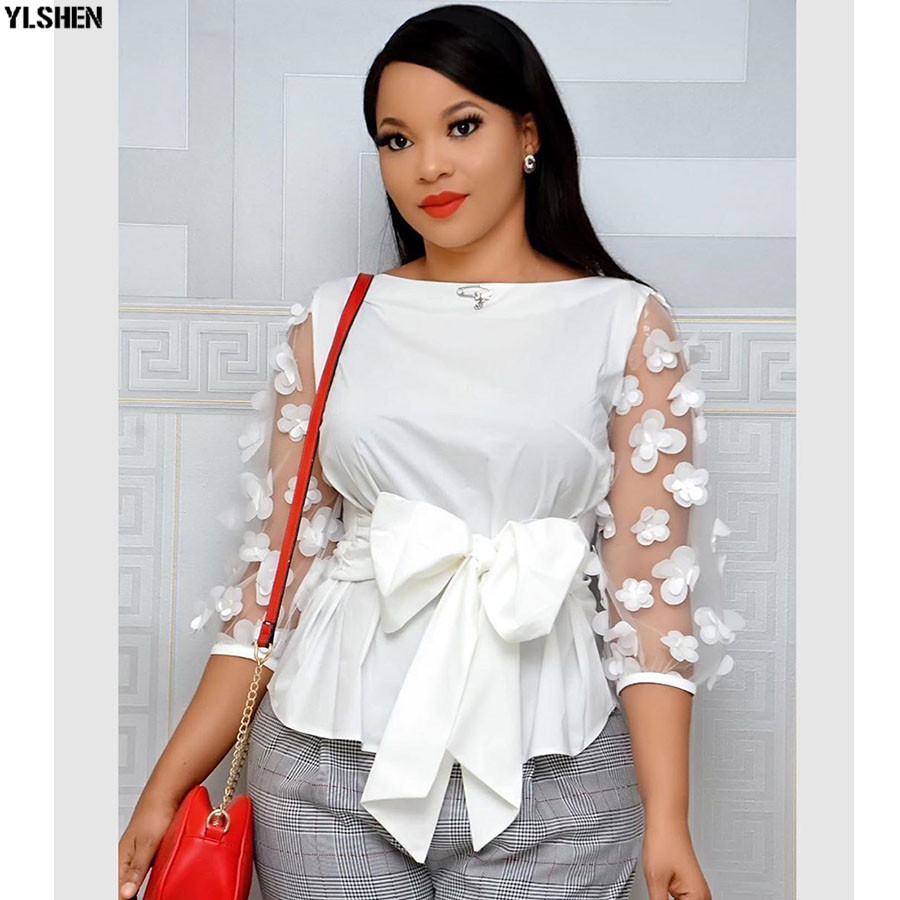 African Top Dresses For Women Dashiki African Clothes Africa Dress Mesh Bow Ladies Tops Clothing Ankara Plus Size African Dress