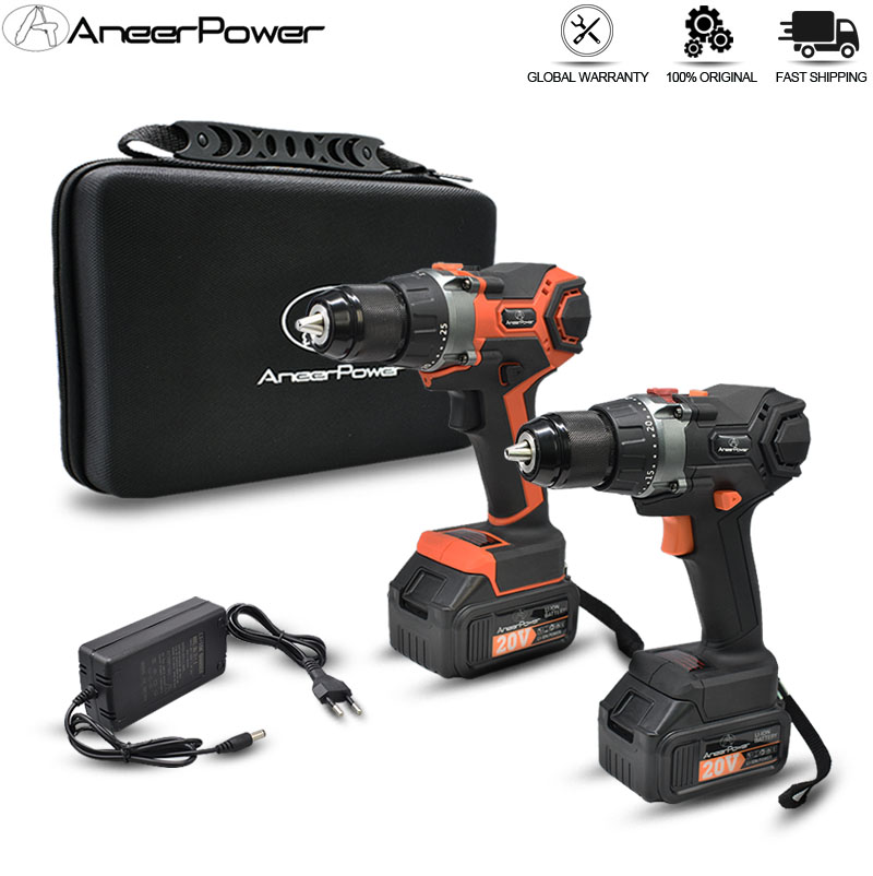 3 Modes Brushless 20V Impact Hand Drill 3.0-2.0Ah Lithium Battery Capacity Screwdriver Cordless Drill Power Tools Electric Drill