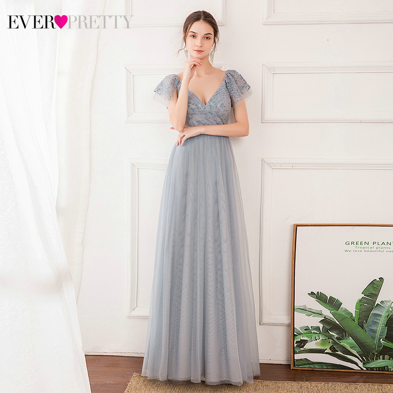 Illusion Lace Prom Dresses Ever Pretty A-Line Double V-Neck Ruffles Sleeve Tulle Elegant Long Party Gowns Vestido Largo Fiesta