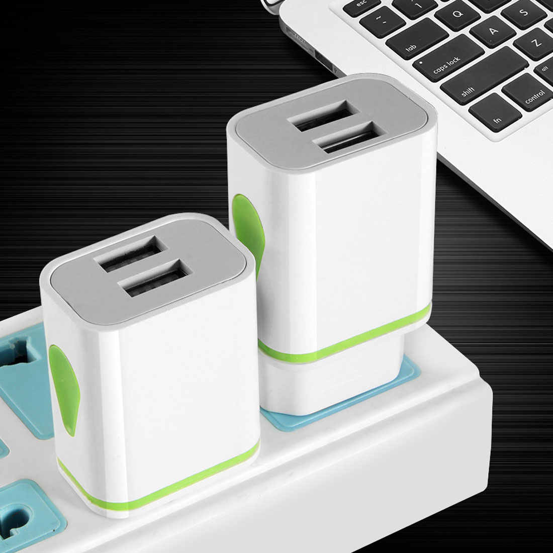 USB Dual Charger Adaptor Kami Perjalanan Uni Eropa Indikator LED Putih untuk Iphone Samsung Xiaomi Tablet iPad USB Dinding Charger USB tipe C HUB