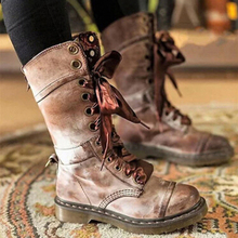 Leather Boots Women Long Boots Lace Up Autumn And Winter Botas  Zapatos De Mujer w18
