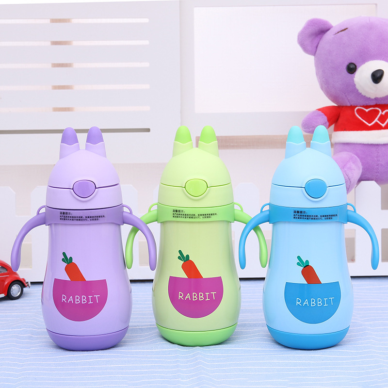 Children Insulated Cup With Handle Cup With Straw Stainless Steel Cartoon Cute Baby Glass Leak-Proof Infant Students Pitcher