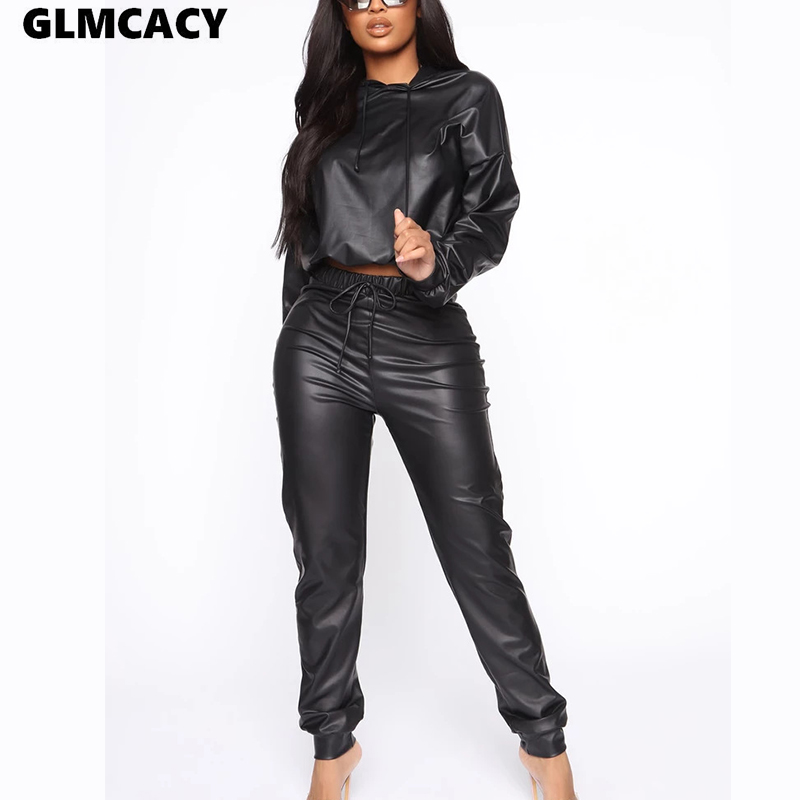 Women Two Piece PU Tracksuits Set Fashion Faux Leather Hoodies and Drawstring Pants Female 2 Piece Outfit Streetwear