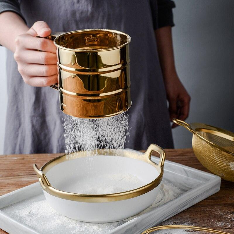Stainless Steel Gold/Silver Sieve Cup Powder Home Appliances Kitchen