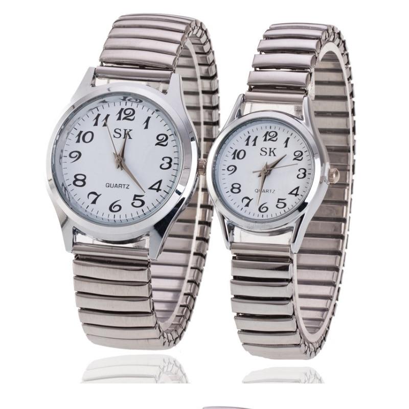 Unique Design Couple Watches Full Stainless Steel Watch Women Men Silver Couple's Clock Quartz Wristwatch Relogio Feminino