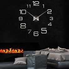 3D self-adhesive acrylic mirror sliver digital wall clock DIY fashion simple wall clock Living room bedroom wall sticker funlife 3d diy moon stars clock acrylic mirror wall sticker