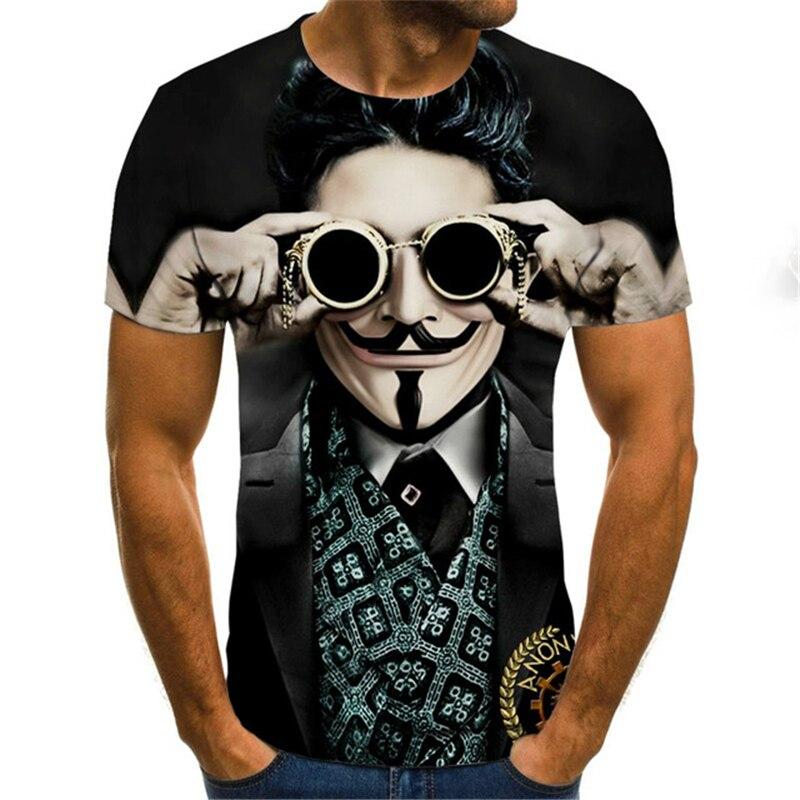 Summer Clown T Shirt Joker Face Male Tshirt Casual O Neck Short Sleeve Hip Hop Tops Tees Funny Joker 3D Printed T Shirts