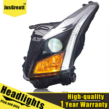 LED Headlights For Cadillac ATS 2014 2017 LED Daytime Running lights Dynamic Signal Bi Xenon Low/High Beam 1 Pair