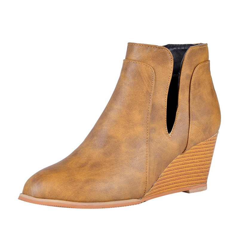 Vertvie Pointed Toe Booties ฤดูหนาวผู้หญิงเสือดาวข้อเท้ารองเท้าแพลตฟอร์มรองเท้ารองเท้าส้นสูงรองเท้า Wedges รองเท้าผู้หญิง Bota Feminina