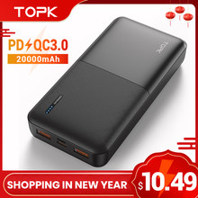 TOPK – Power Bank 20000mAh, chargeur Portable USB Type C PD 3.0, Charge rapide 3.0, batterie externe pour Xiaomi