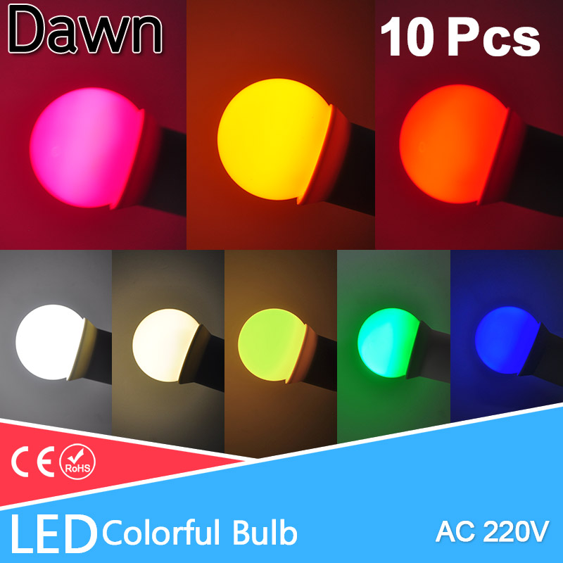 10pcs E27 Led Bulb Colorful Led Lamp Bomlillas  Globe Lampada 3W 220V SMD RGB Led Light 2835 Flashlight G45 Led Bulbs Home Light